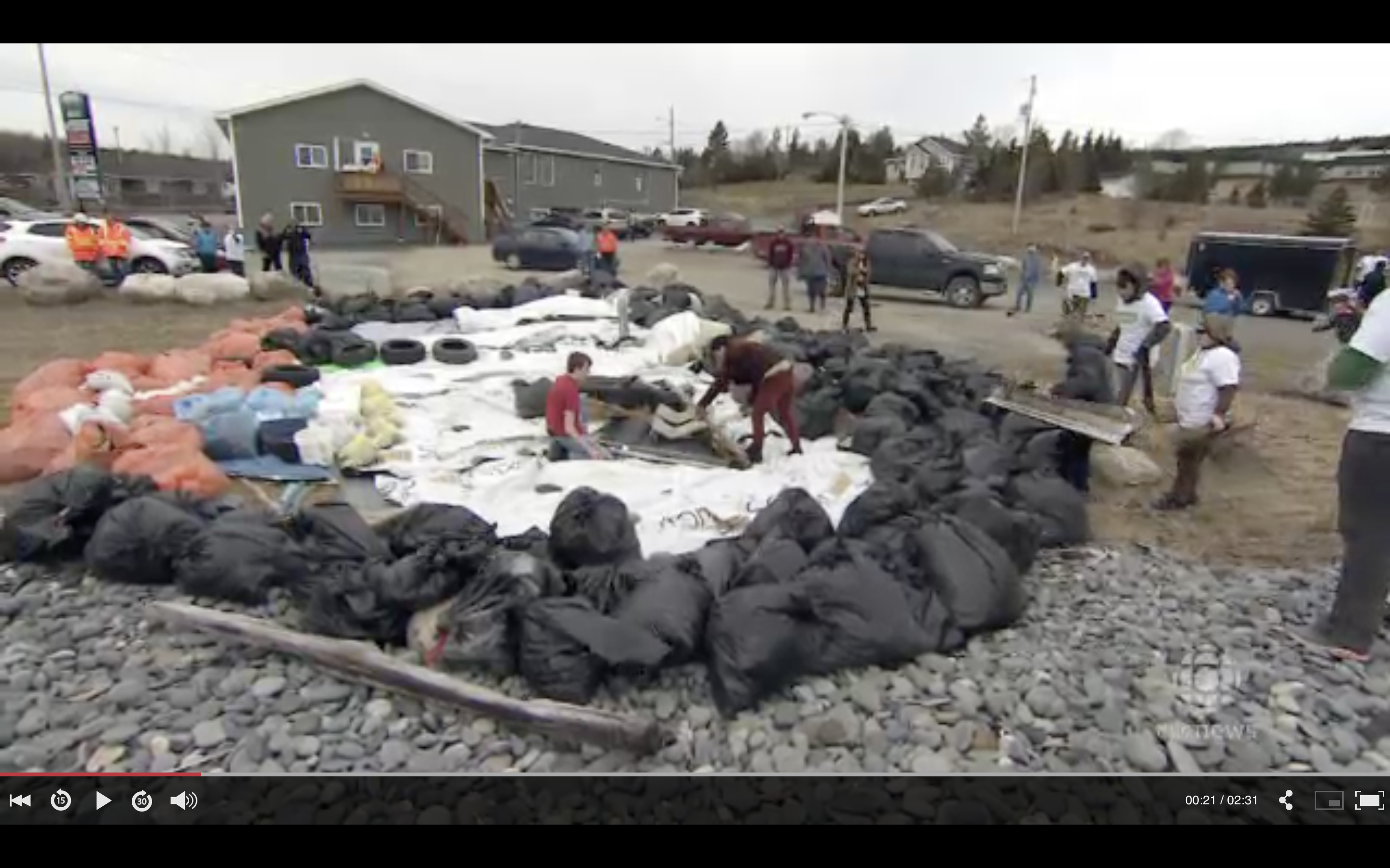 "CBC News: ""Witless Bay creates massive puffin out of beach garbage"""